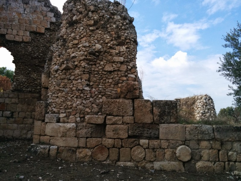 Ottoman Tower added to Crusader Wall. See  unhewn filler stones and columns used to strengthen wall